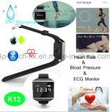 Le bracelet intelligent avec le moniteur du rythme cardiaque d'ECG et imperméabilisent (K12)