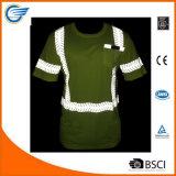 Chemise r3fléchissante de visibilité d'humidité de chemise courte élevée de Wicking