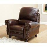 O melhor sofá de reclinação de venda do couro da guarnição de Nailhead