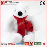 Urso polar de pelúcia com pêlo macio no cachecol