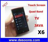 Het koele X6 Scherm van de Aanraking van Java van de Telefoon van TV Mobiele de Dubbele Band van de Vierling van Kaarten SIM