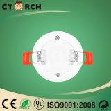 Distribuição de 3W Luz do painel de LED confinados redonda com marcação CE/RoHS