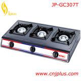 Fogão de gás quente de três queimadores com revestimento cinzento Jp-Gc307t