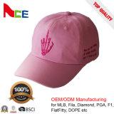 Moda OEM muestra gratis 100% poliéster gorra de béisbol con bordados