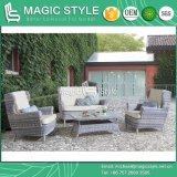 クッションの藤の2シートのソファーの庭の単一のソファーの余暇の枝編み細工品のソファーを編む柳細工のソファーの枝編み細工品とセットされる屋外の柳細工のソファー