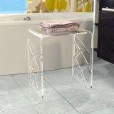 Eleganter weißer Acryldusche-Schemel, Eitelkeits-Badezimmer-Schemel, Tisch der Wasserfall-Lucite-Seiten-U