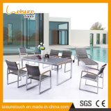 Outdoor Garden Rattan Wicker Plastic-Wood Mesa e Cadeira