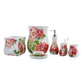 Oriental elegante conjunto de accesorios de baño de cerámica para decoración del hogar
