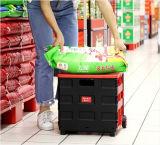 Cesta de compra plástica do supermercado da boa qualidade com rodízios
