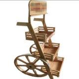 Cremagliera di visualizzazione di legno flessibile del vino con le rotelle
