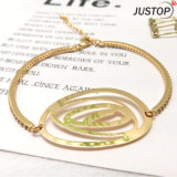 Moderno 18K Gold Big Rose Shape notas acobreadas Liga Bangle para Mulheres