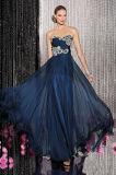 Vestido de noche Chiffon moldeado cristalino acanalado del azul de marina del amor de la blusa