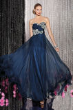Ruched платье вечера сини военно-морского флота lhbim лифа кристаллический Beaded шифоновое