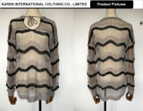 Damelace oben geöffnete Knit-Streifen-Sprung-Oberseite