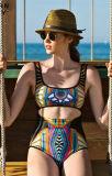 Beachwear del desgaste de la natación de las mujeres atractivas de nylon de una sola pieza de la manera africana de la impresión