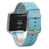 De Riem van de Band van het Horloge van het Leer van de luxe + het Frame van het Roestvrij staal voor Slimme Uitbarsting Fitbit