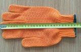 Gants fermes de travail de coton de sûreté de PVC avec les points en caoutchouc d'adhérence