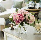 Künstliche Hydrangea-Blumen-Kopf-Fälschungs-steuern Silk einzelnes reales Notehydrangea-Rot für Hochzeits-Mittelstücke automatisch an