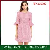 Novo design da mola Listra de moda da Luva Flounce Seersucker Lady Dress