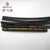 Boyau R1 hydraulique renforcé en caoutchouc noir du fil d'acier SAE 100
