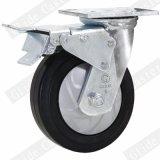Nylon de 8 pouces Core industriels en caoutchouc élastique roulettes avec frein