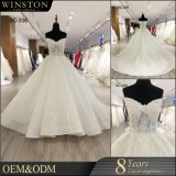 中国の工場実質のサンプルはレースの上によって波立たせられる卸し売りウェディングドレスを描く
