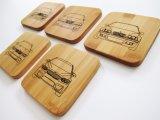 Sottobicchiere di legno del quadrato su ordinazione di marchio per la bevanda del caffè del tè