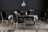 Sala de jantar clássica francesa moderna Preto Branco Prateado Cromado Vidro Louis mesa de jantar em aço inoxidável e tecido de veludo cadeiras para Refeições Silver