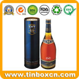 Изготовленный на заказ круглая коробка вина металла олова для вискиа водочки сбор винограда