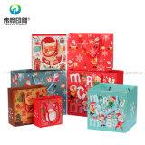 Мешок изготовленный на заказ выдвиженческого розничного бумажного печатание способа упаковывая для подарка рождества