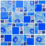 Mosaico di cristallo del mosaico 50X50 25X25mm del fiore blu rosso del fiore