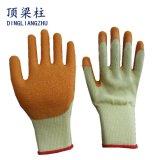 gants enduits de sûreté de latex de pli de 10g Polycotton pour des ouvriers