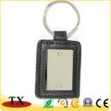 Kundenspezifischer Firmenzeichen-Metalschlüsselring PU-lederne Schlüsselkette