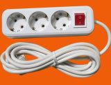 Белый цвет 3 розетки с переключатель вкл./выкл. 3G0.75X3m (E8003ES)