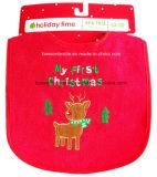 На заводе производят Вышитый логотип хлопка Терри Рождество Детский Bib