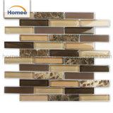La stanza da bagno poco costosa di vendita calda decora il mosaico del blocchetto di vetro del Brown della striscia