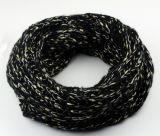Шарф Snood петли зимы вычуры грелки шеи женщин Unisex толщиной золотистой связанный фольгой (SK150)