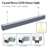 LEDの線形ライトを薄暗くすることの上下の銀か灰色または白くまたは黒い