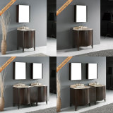 Voeden-1034 Ijdelheid van de Badkamers van de Gootstenen van 60 Duim Elegante Marmeren Dubbele Moderne