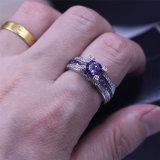 Пурпуровый Zircon 5A 925 кец полосы венчания Birthstone стерлингового серебра