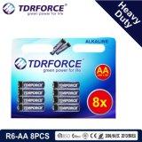 1.5V中国の工場亜鉛カーボン電池の卸売価格(R6-AA 8PCS)