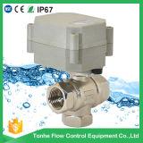 Válvula de bola de latón del actuador eléctrico 3/4 '' 3way para el control automático (T20-B3-B)