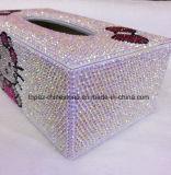 Aangepaste Hand - de gemaakte Doos van het Weefsel van het Kristal van de Doos van de Juwelen van de Diamant (tbb-005)