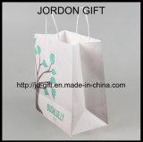 La impresión de color personalizada Bolsa de trenzado de papel kraft para ensalada, dulces, postres, café, tienda de comida para llevar