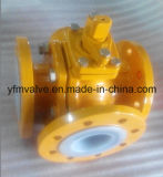 Válvula de esfera de 3 vias alinhada PFA Flange DIN