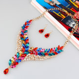 Conjunto de la joyería de la depresión de la manera de los pendientes del collar de diamante