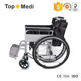 Topmedi Meidcal Equipment Prix à bas prix Chaise roulante en acier pliante à l'hôpital