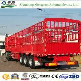 Un bestiame dei 3 assi trasporta il rimorchio del camion del palo del contenitore di carico della rete fissa semi