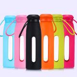 여행 유리병 스포츠 컵 실리콘 소매를 가진 휴대용 유리제 물병