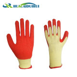 Orange 21s ondulada de hilados de Guantes de Latex Palm el logotipo impreso